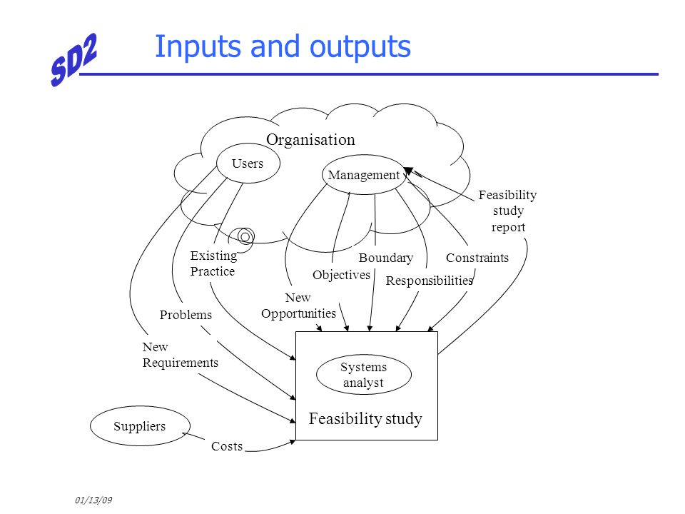 01/13/09 Inputs and outputs Users Management Organisation Suppliers Systems analyst Feasibility study Feasibility study report Constraints Responsibil