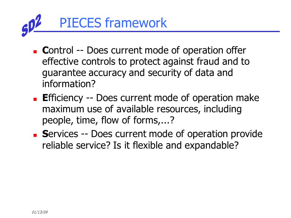 01/13/09 PIECES framework Control -- Does current mode of operation offer effective controls to protect against fraud and to guarantee accuracy and se
