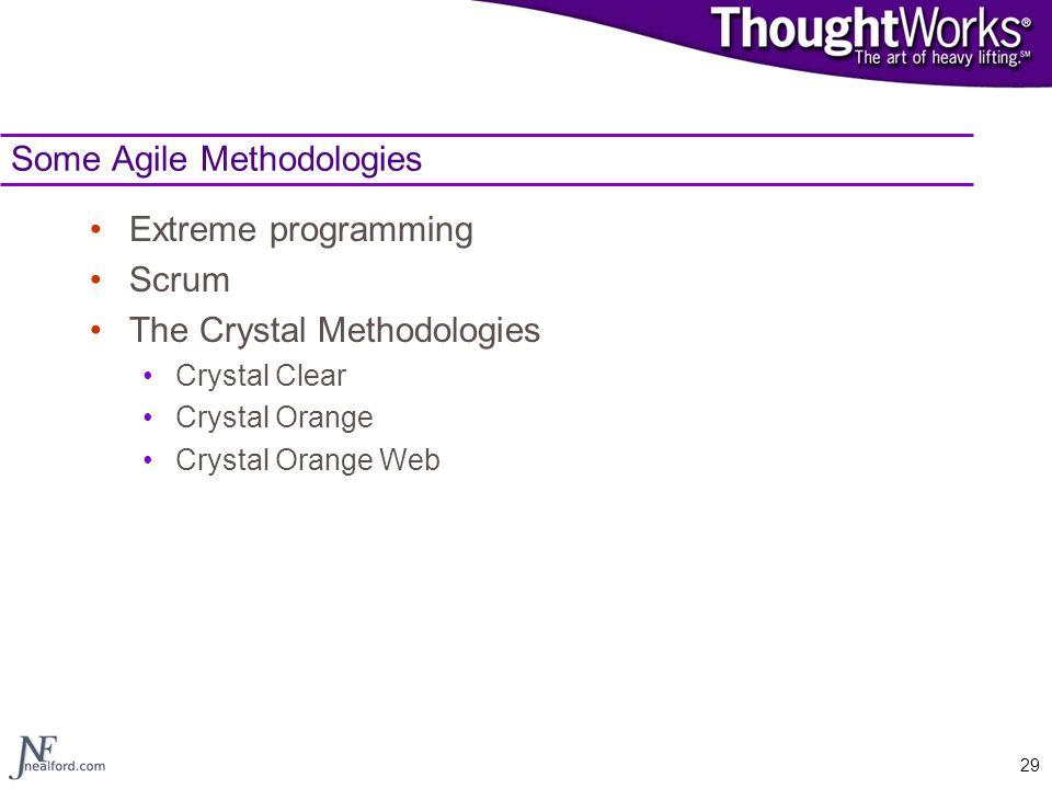 29 Some Agile Methodologies Extreme programming Scrum The Crystal Methodologies Crystal Clear Crystal Orange Crystal Orange Web