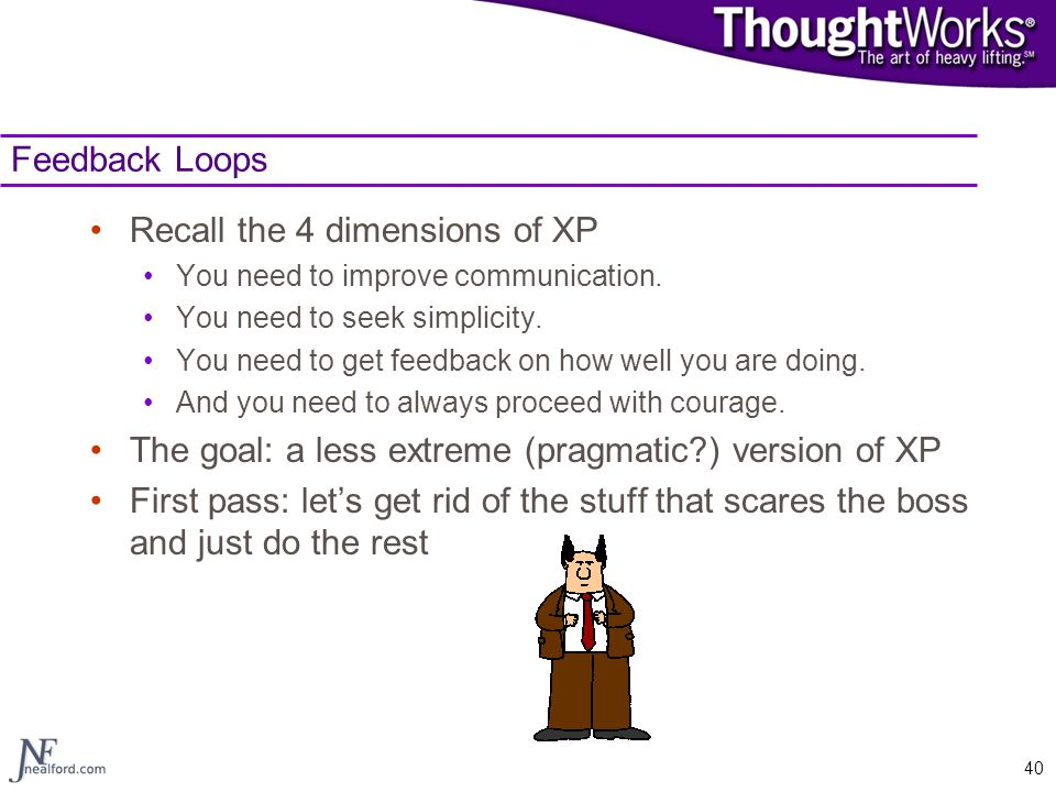 40 Feedback Loops Recall the 4 dimensions of XP You need to improve communication. You need to seek simplicity. You need to get feedback on how well y