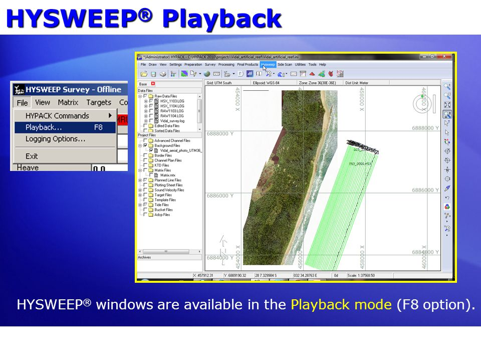 HYSWEEP ® windows are available in the Playback mode (F8 option). HYSWEEP ® Playback