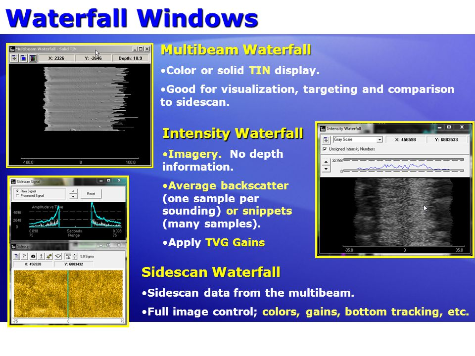 Waterfall Windows Multibeam Waterfall Color or solid TIN display. Good for visualization, targeting and comparison to sidescan. Intensity Waterfall Im