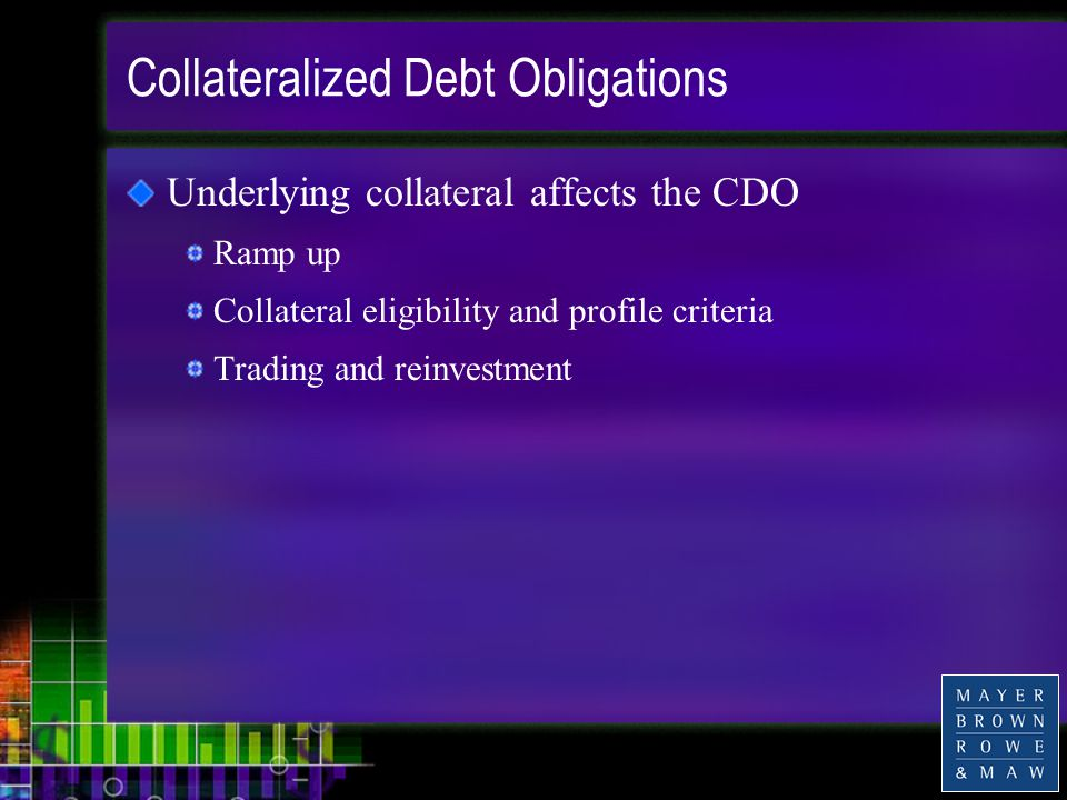 Collateralized Debt Obligations Underlying collateral affects the CDO Ramp up Collateral eligibility and profile criteria Trading and reinvestment