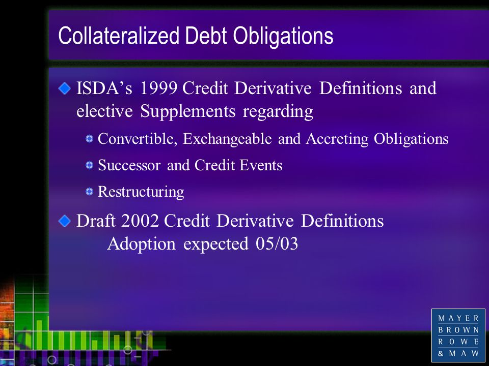 Collateralized Debt Obligations ISDA's 1999 Credit Derivative Definitions and elective Supplements regarding Convertible, Exchangeable and Accreting Obligations Successor and Credit Events Restructuring Draft 2002 Credit Derivative Definitions Adoption expected 05/03