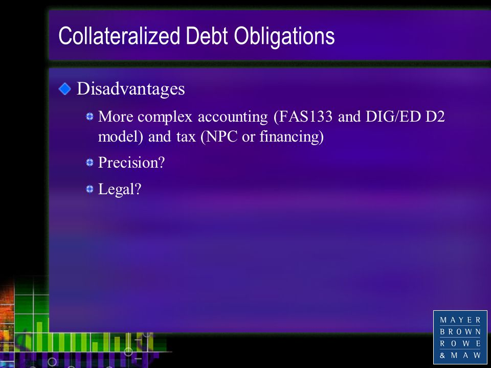 Collateralized Debt Obligations Disadvantages More complex accounting (FAS133 and DIG/ED D2 model) and tax (NPC or financing) Precision.