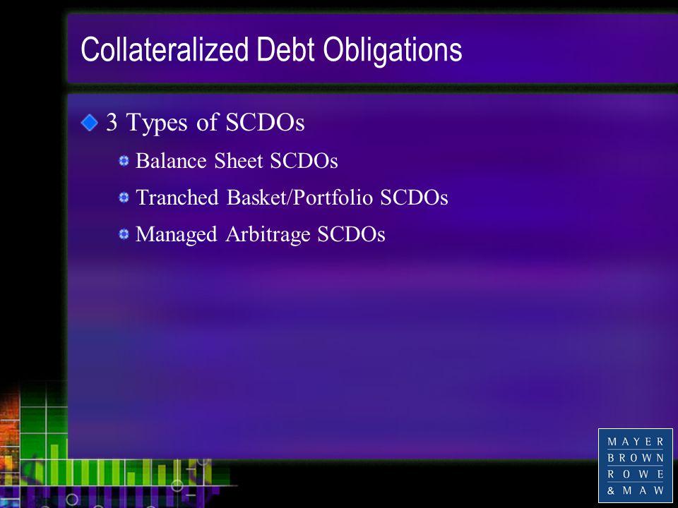 Collateralized Debt Obligations 3 Types of SCDOs Balance Sheet SCDOs Tranched Basket/Portfolio SCDOs Managed Arbitrage SCDOs