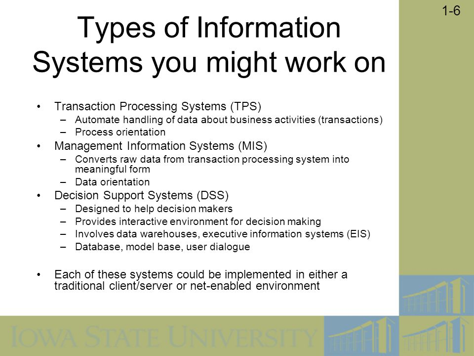 1-7 Types of Information Systems and Systems Development Methods Each of these systems could be implemented in either a traditional client/server or net-enabled environment