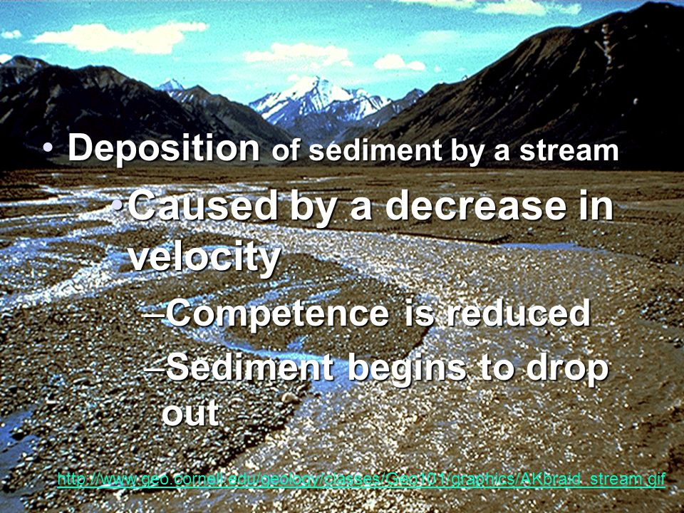 Deposition of sediment by a streamDeposition of sediment by a stream Caused by a decrease in velocityCaused by a decrease in velocity –Competence is reduced –Sediment begins to drop out http://www.geo.cornell.edu/geology/classes/Geo101/graphics/AKbraid_stream.gif