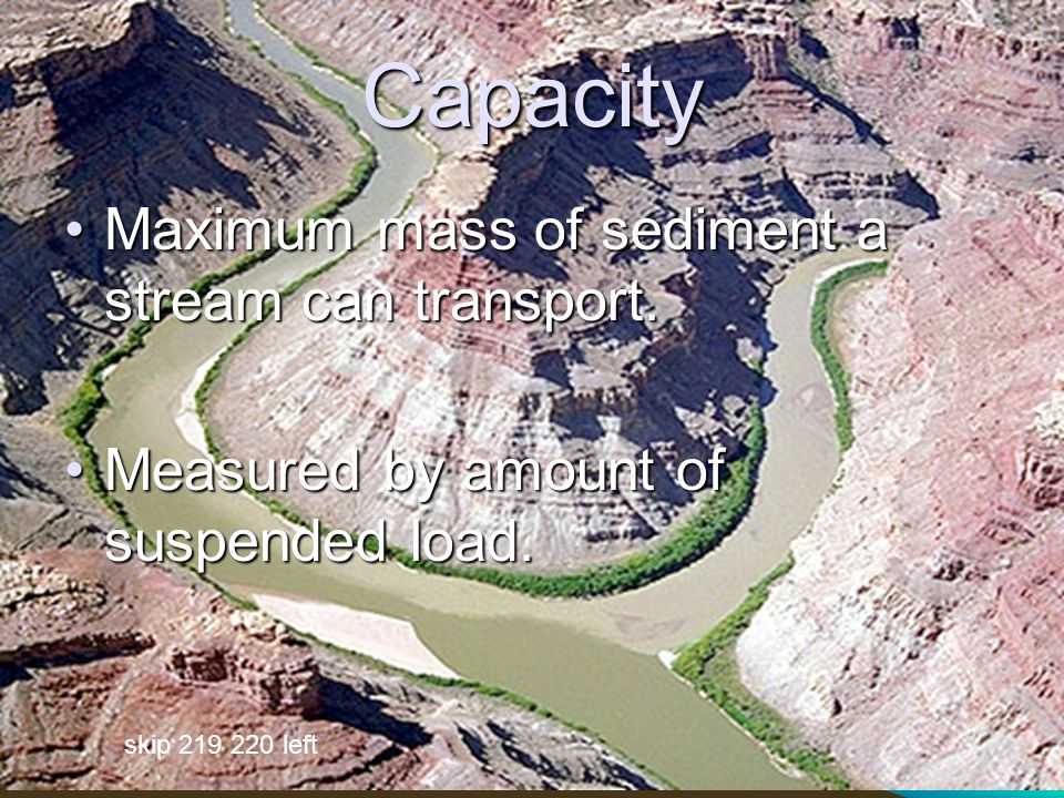 Capacity Maximum mass of sediment a stream can transport.Maximum mass of sediment a stream can transport.
