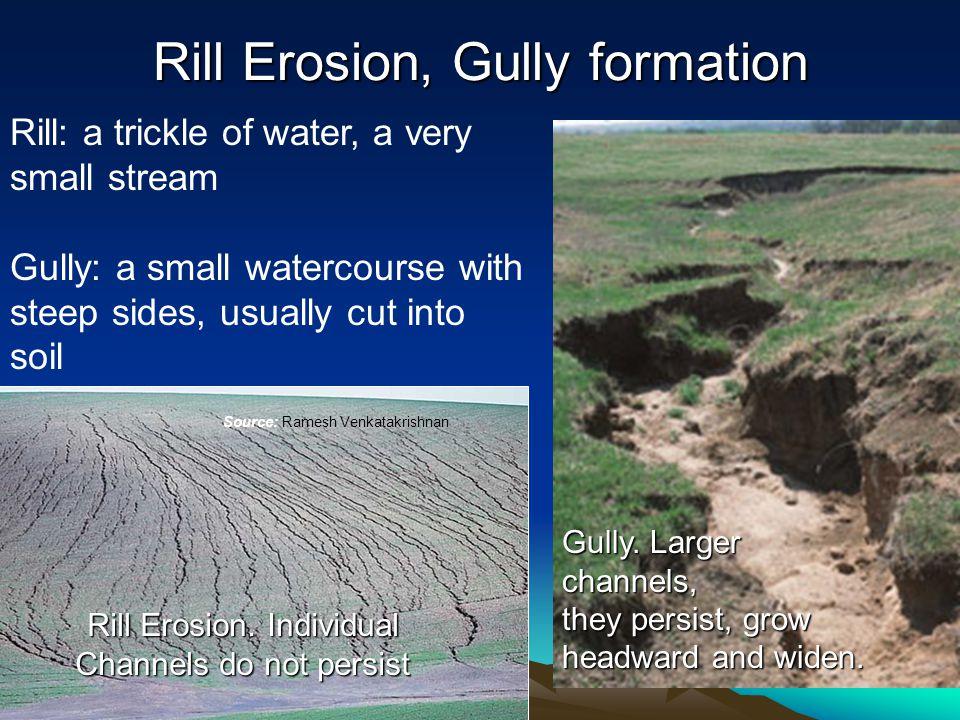 Rill Erosion, Gully formation Source: Ramesh Venkatakrishnan Rill Erosion.