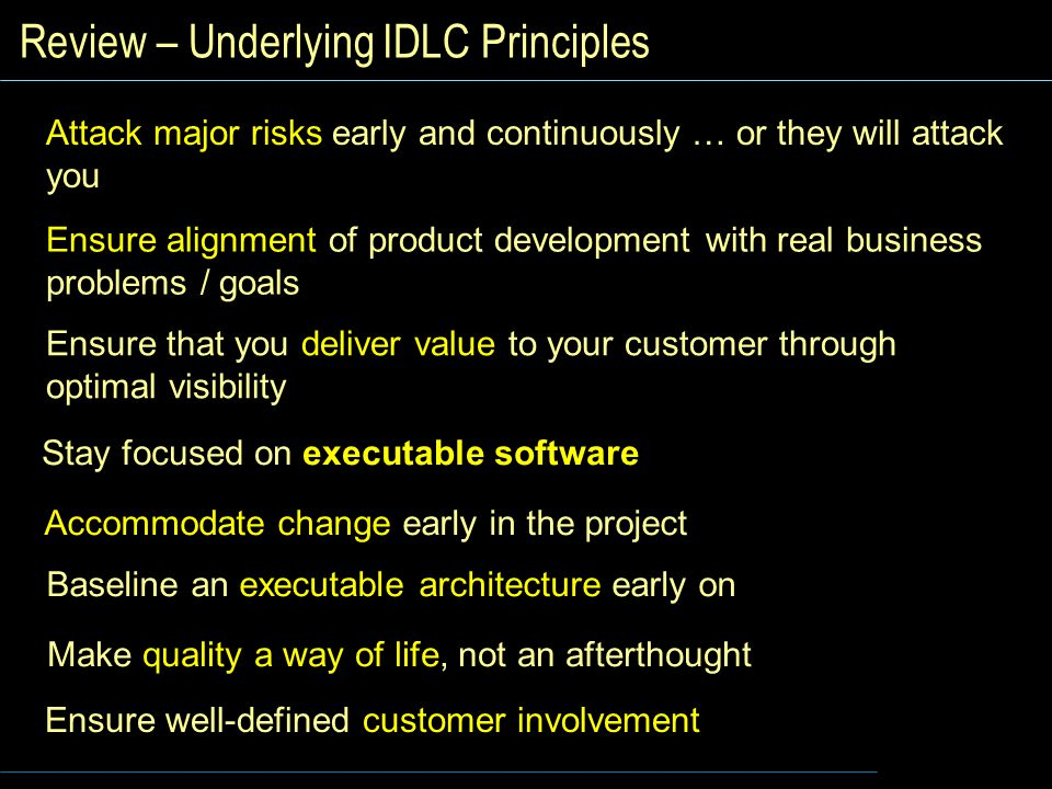 Review – Underlying IDLC Principles Ensure alignment of product development with real business problems / goals Ensure that you deliver value to your customer through optimal visibility Stay focused on executable software Accommodate change early in the project Baseline an executable architecture early on Make quality a way of life, not an afterthought Ensure well-defined customer involvement Attack major risks early and continuously … or they will attack you