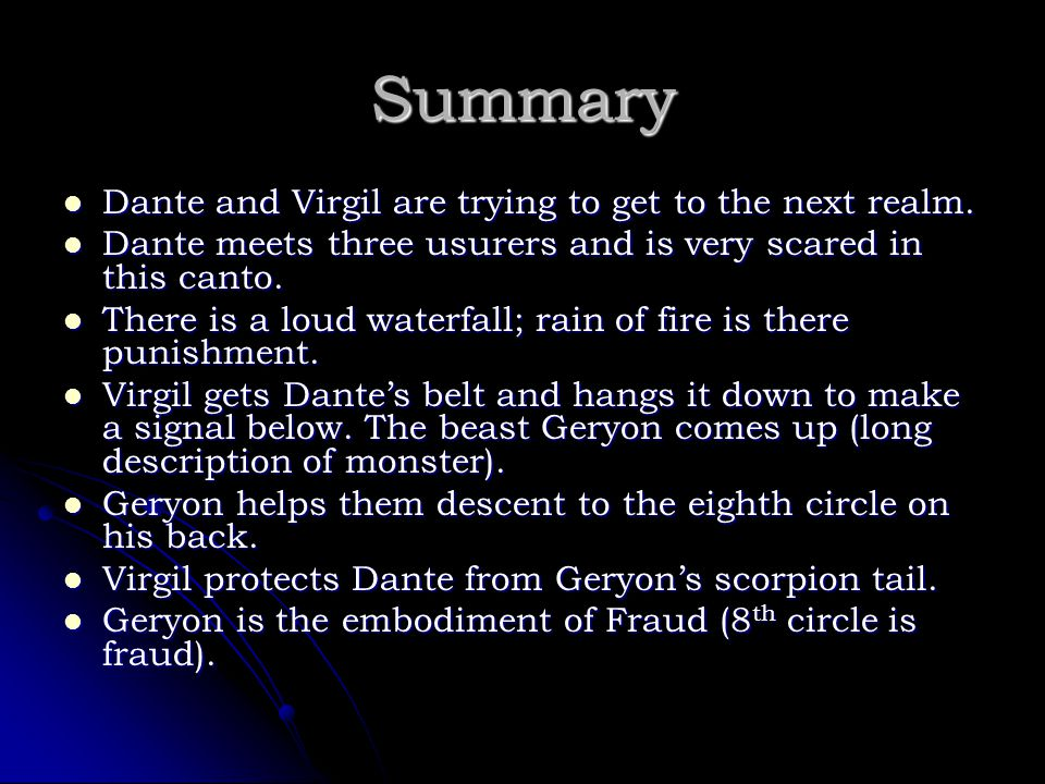Summary Dante and Virgil are trying to get to the next realm.
