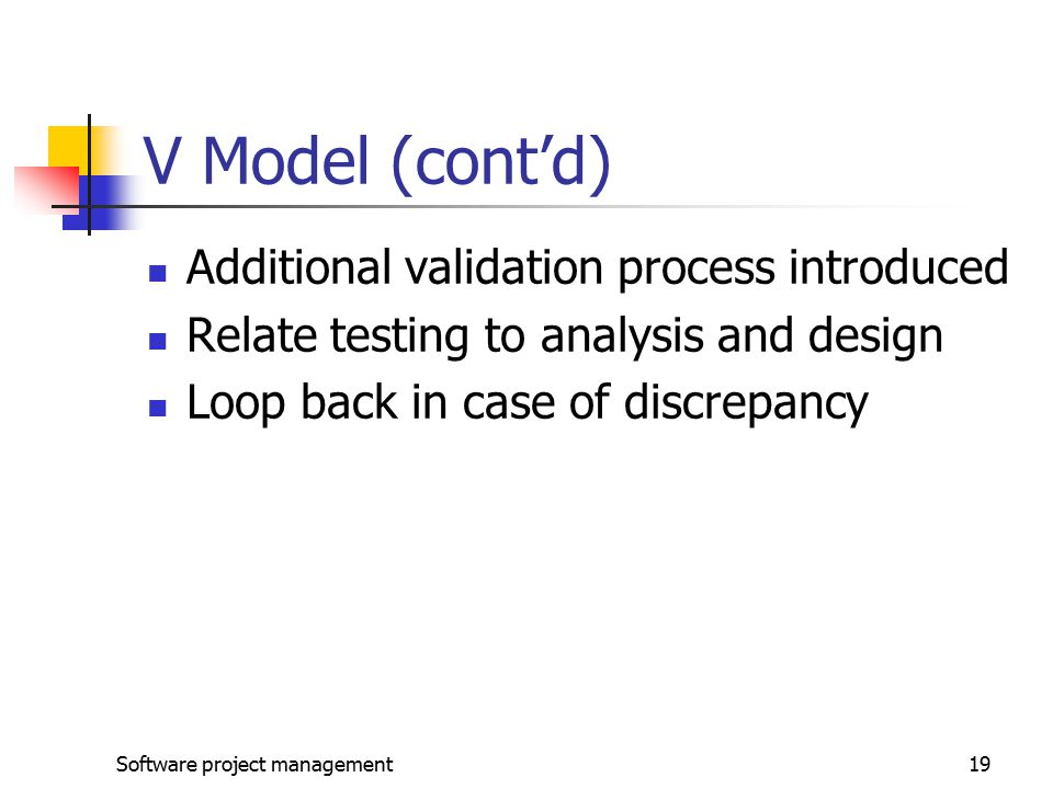 Software project management19 V Model (cont'd) Additional validation process introduced Relate testing to analysis and design Loop back in case of discrepancy
