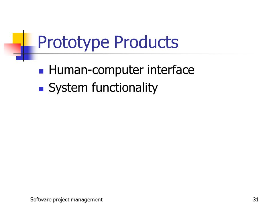 Software project management31 Prototype Products Human-computer interface System functionality