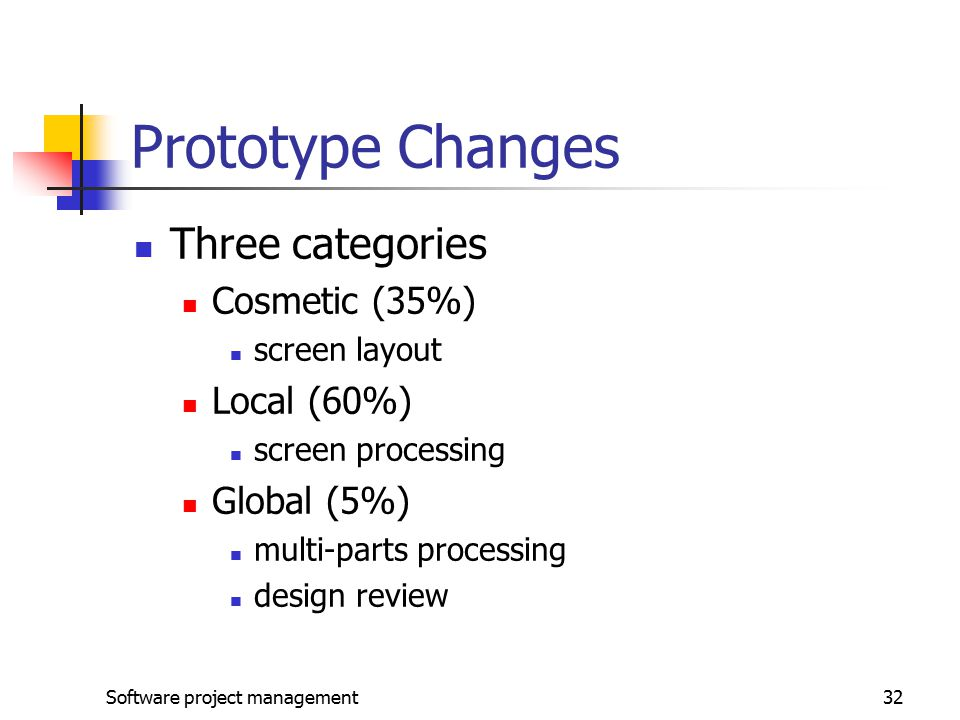 Software project management32 Prototype Changes Three categories Cosmetic (35%) screen layout Local (60%) screen processing Global (5%) multi-parts processing design review