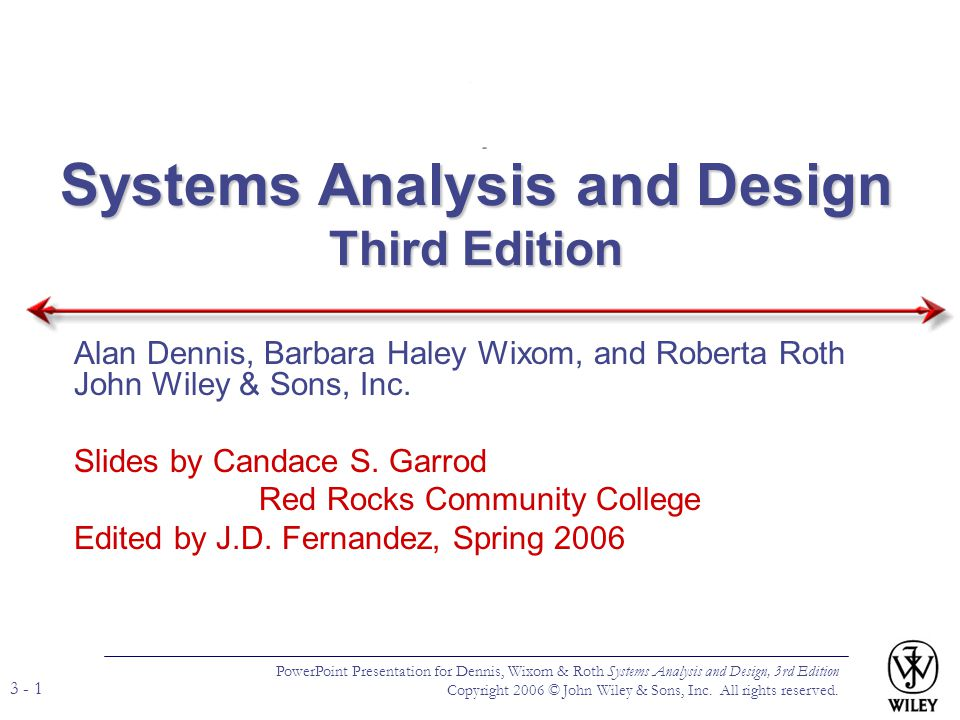 PowerPoint Presentation for Dennis, Wixom, & Roth Systems Analysis and Design, 3rd Edition Copyright 2006 © John Wiley & Sons, Inc.