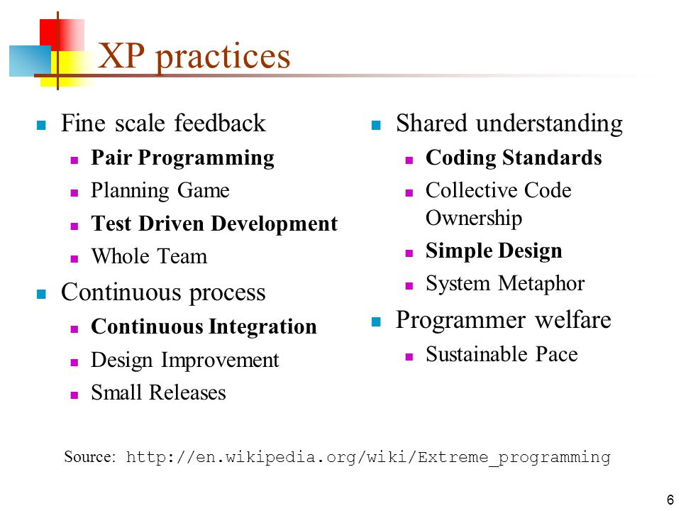 6 XP practices Fine scale feedback Pair Programming Planning Game Test Driven Development Whole Team Continuous process Continuous Integration Design Improvement Small Releases Shared understanding Coding Standards Collective Code Ownership Simple Design System Metaphor Programmer welfare Sustainable Pace Source: http://en.wikipedia.org/wiki/Extreme_programming