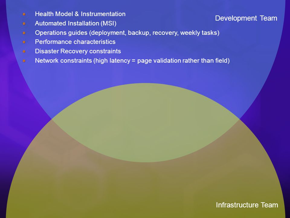 Development Team Infrastructure Team Health Model & Instrumentation Automated Installation (MSI) Operations guides (deployment, backup, recovery, weekly tasks) Performance characteristics Disaster Recovery constraints Network constraints (high latency = page validation rather than field)