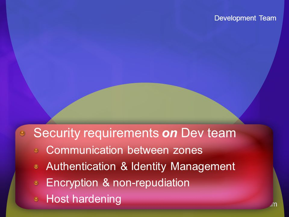 Development Team Infrastructure Team Security requirements on Dev team Communication between zones Authentication & Identity Management Encryption & n