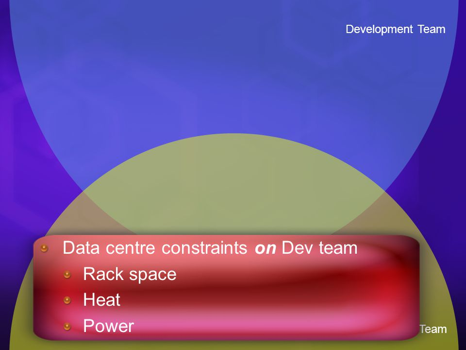 Development Team Infrastructure Team Data centre constraints on Dev team Rack space Heat Power