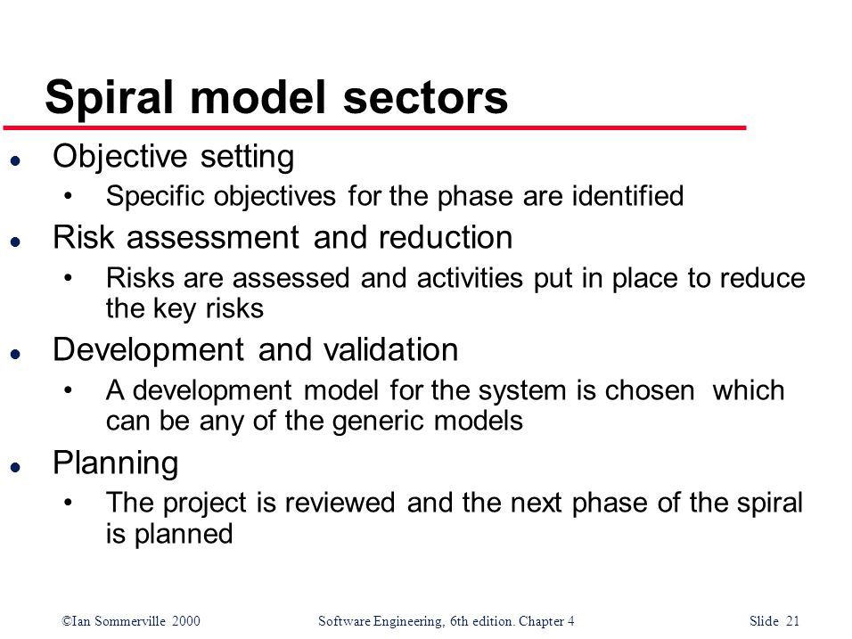 ©Ian Sommerville 2000 Software Engineering, 6th edition. Chapter 4 Slide 21 Spiral model sectors l Objective setting Specific objectives for the phase