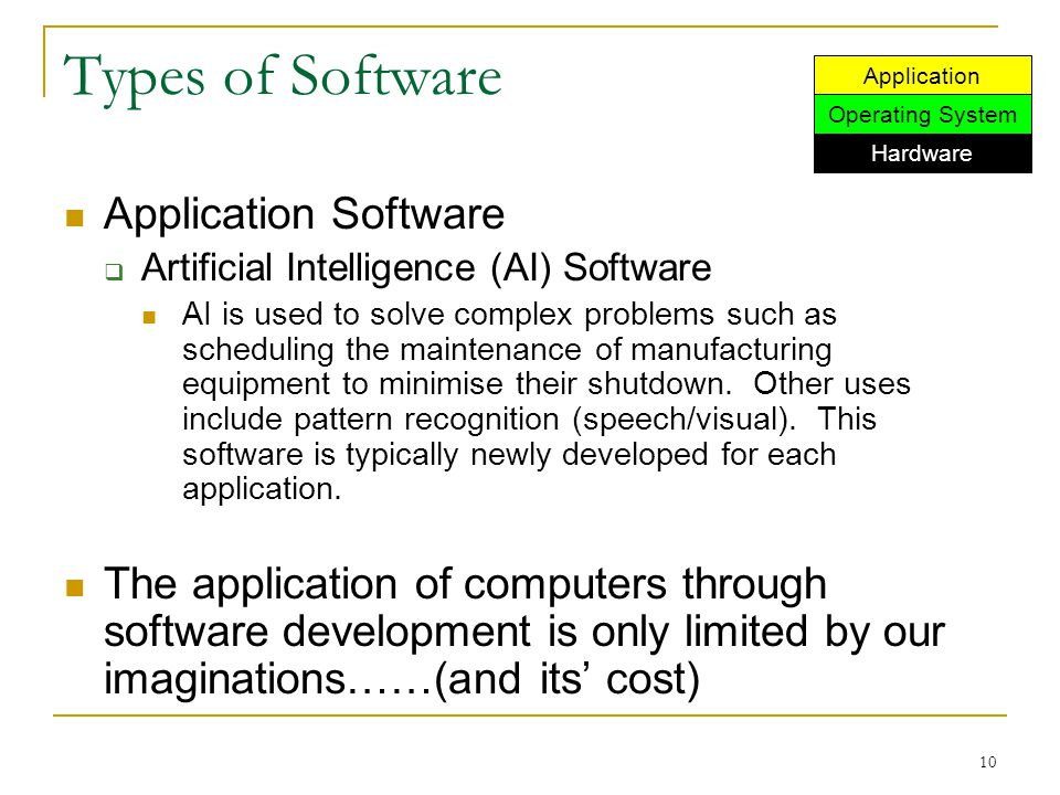 10 Types of Software Application Software  Artificial Intelligence (AI) Software AI is used to solve complex problems such as scheduling the maintena