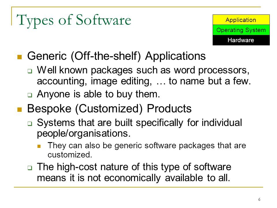 6 Types of Software Generic (Off-the-shelf) Applications  Well known packages such as word processors, accounting, image editing, … to name but a few