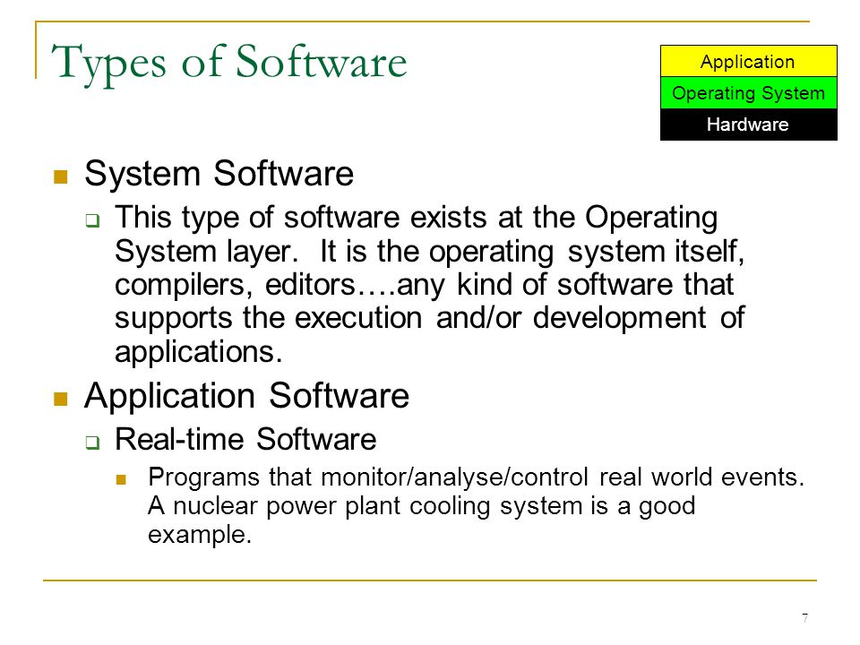 7 Types of Software System Software  This type of software exists at the Operating System layer. It is the operating system itself, compilers, editor