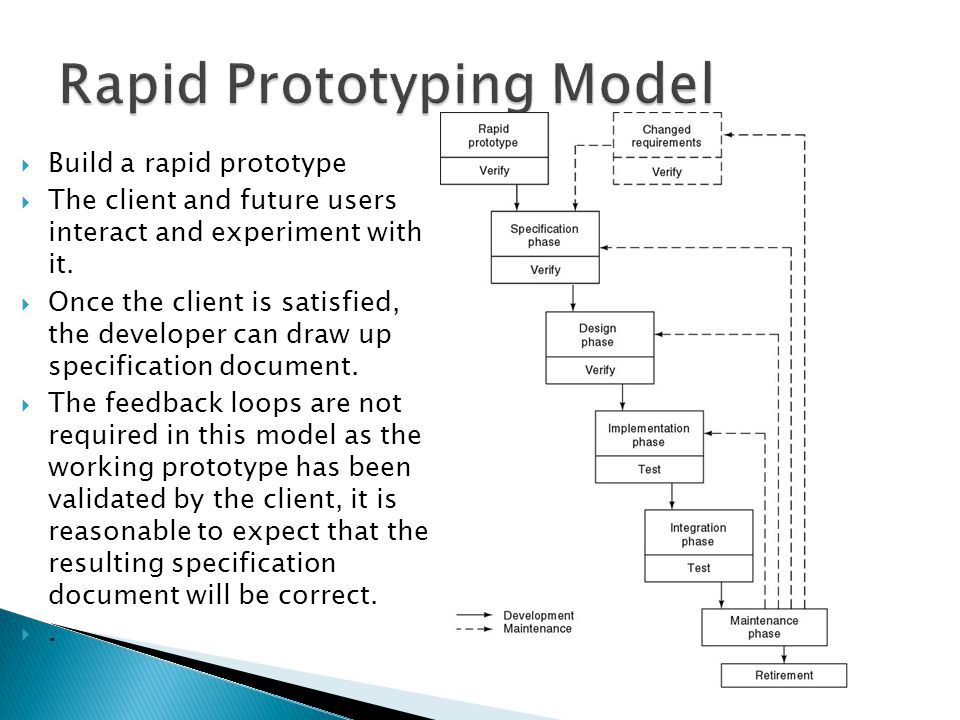  Build a rapid prototype  The client and future users interact and experiment with it.  Once the client is satisfied, the developer can draw up spe