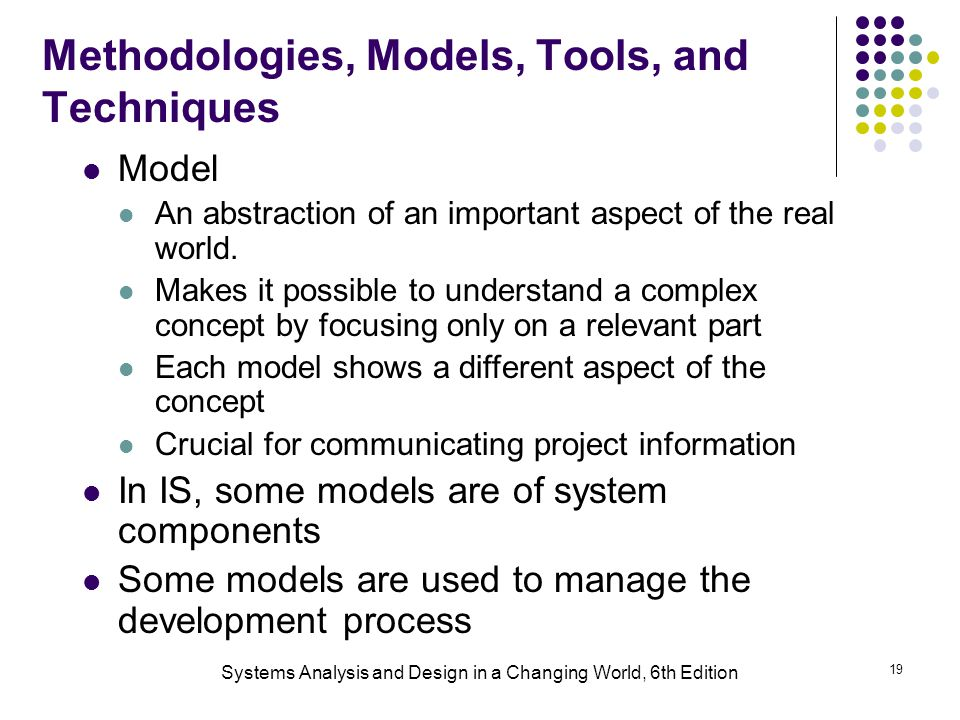 Systems Analysis and Design in a Changing World, 6th Edition 19 Methodologies, Models, Tools, and Techniques Model An abstraction of an important aspect of the real world.