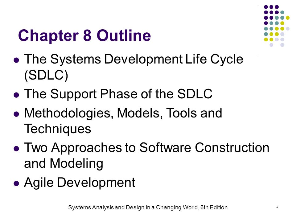 Systems Analysis and Design in a Changing World, 6th Edition 3 Chapter 8 Outline The Systems Development Life Cycle (SDLC) The Support Phase of the SDLC Methodologies, Models, Tools and Techniques Two Approaches to Software Construction and Modeling Agile Development