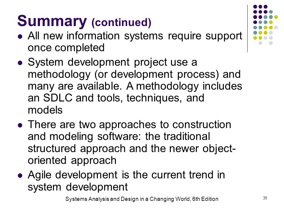 Systems Analysis and Design in a Changing World, 6th Edition 39 Summary (continued) All new information systems require support once completed System