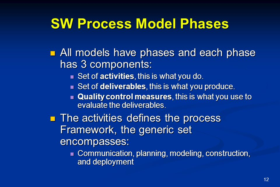 13 The Waterfall Model This Model suggests a systematic, sequential approach to SW development that begins at the system level and progresses through analysis, design, code and testing.
