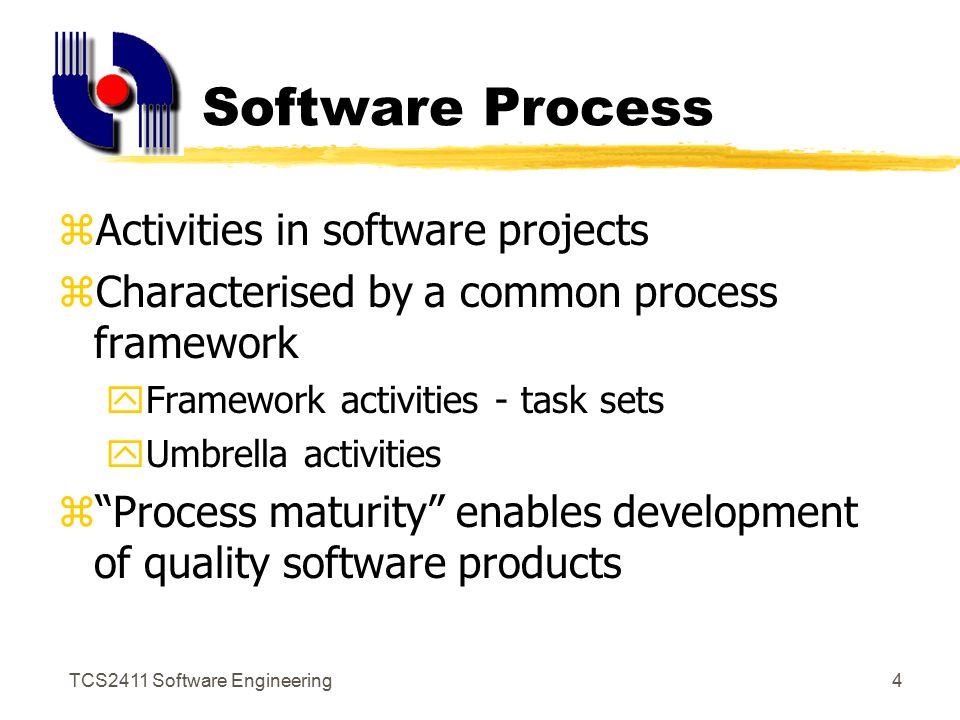 TCS2411 Software Engineering3 Software Engineering Layers a quality focus process model methods tools