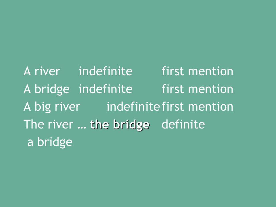 A riverindefinitefirst mention A bridgeindefinitefirst mention A big river indefinitefirst mention the bridge The river … the bridgedefinite a bridge