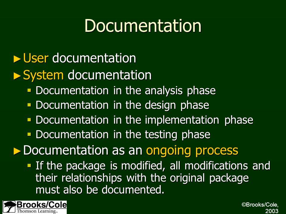 Documentation ► User documentation ► System documentation  Documentation in the analysis phase  Documentation in the design phase  Documentation in