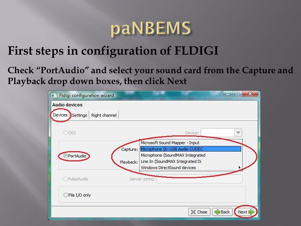 First steps in configuration of FLDIGI Double Click the FLAMP icon on your desktop, then click on the Configure tab and make sure all the boxes are unchecked