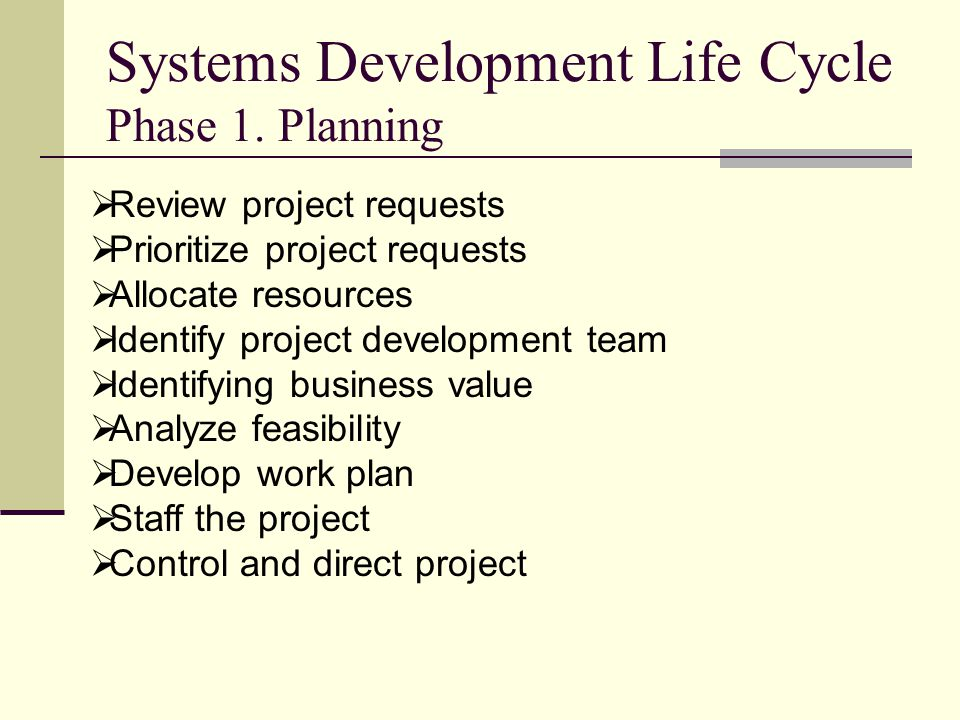 Systems Development Life Cycle Phase 1. Planning  Review project requests  Prioritize project requests  Allocate resources  Identify project devel