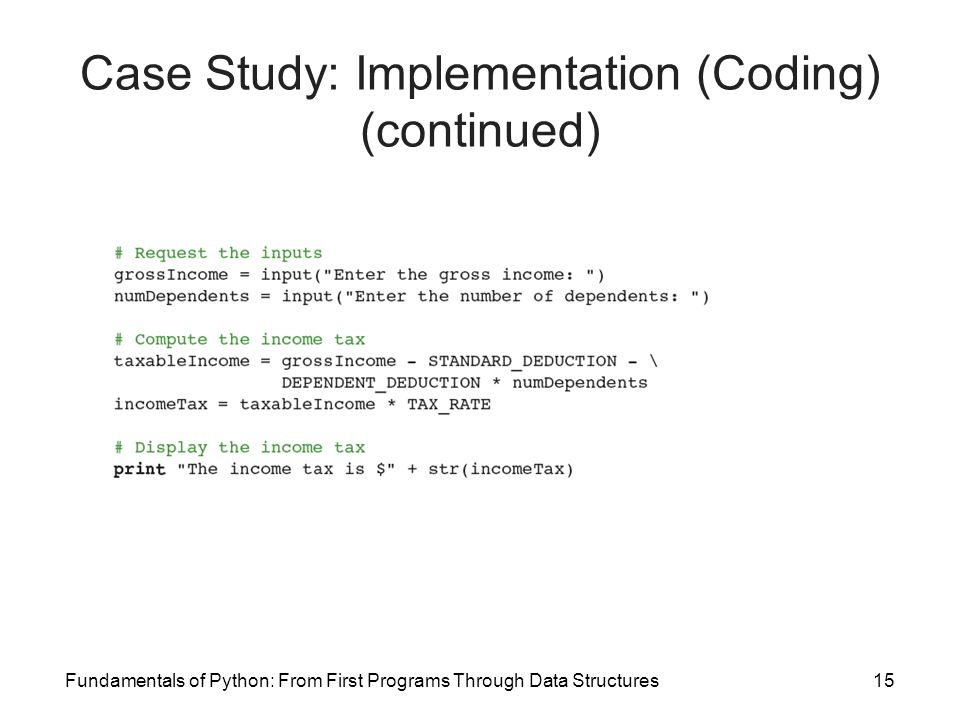 Fundamentals of Python: From First Programs Through Data Structures15 Case Study: Implementation (Coding) (continued)