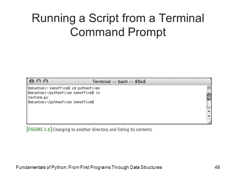 Fundamentals of Python: From First Programs Through Data Structures49 Running a Script from a Terminal Command Prompt