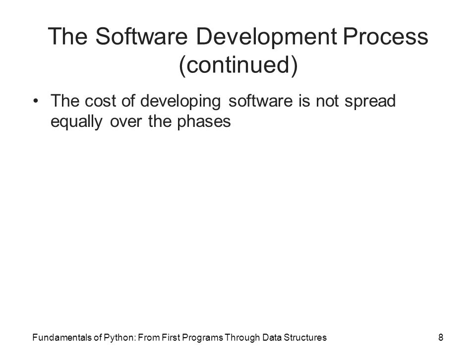 Fundamentals of Python: From First Programs Through Data Structures8 The Software Development Process (continued) The cost of developing software is not spread equally over the phases