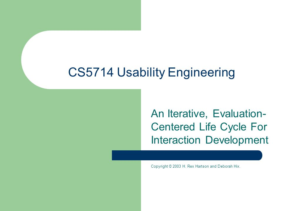 CS5714 Usability Engineering An Iterative, Evaluation- Centered Life Cycle For Interaction Development Copyright © 2003 H.