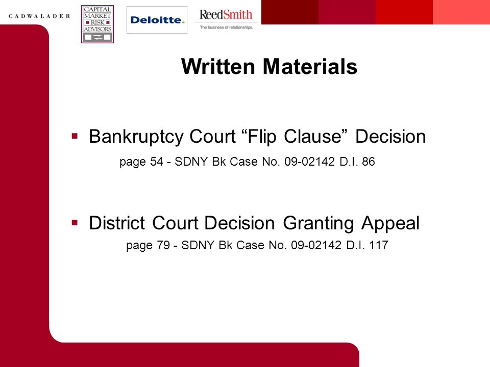 Written Materials  Bankruptcy Court Flip Clause Decision page 54 - SDNY Bk Case No.
