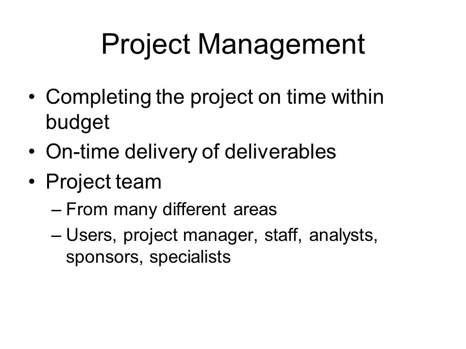 Project Management Completing the project on time within budget On-time delivery of deliverables Project team –From many different areas –Users, proje