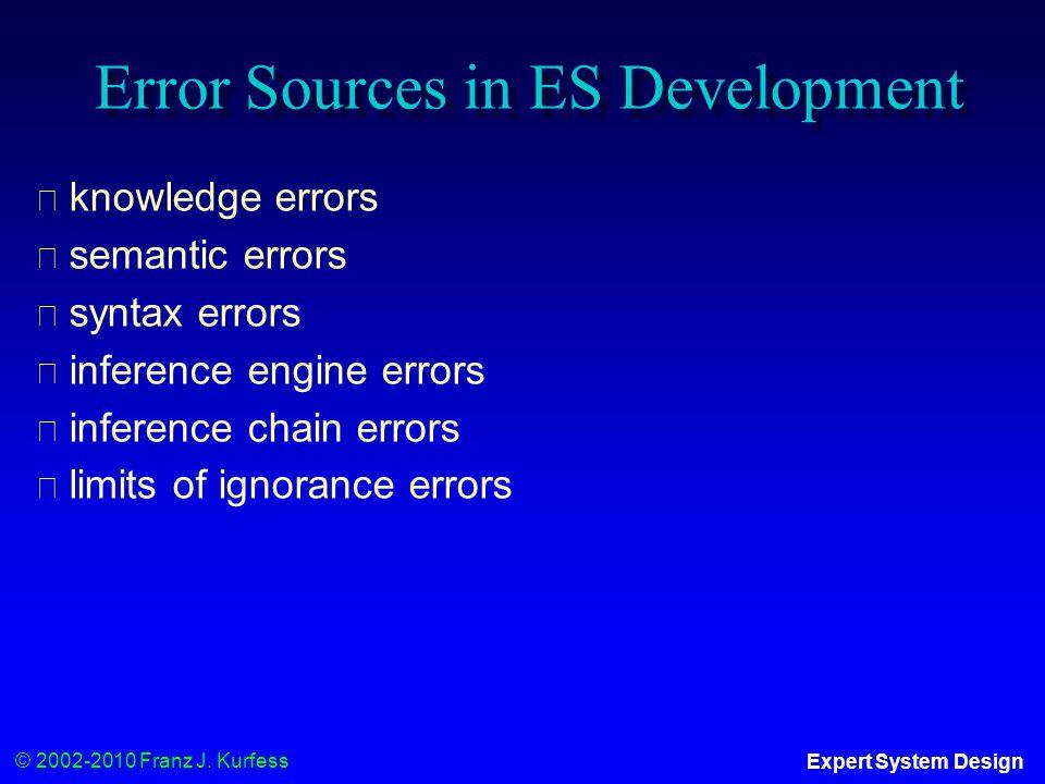 © 2002-2010 Franz J. Kurfess Expert System Design Error Sources in ES Development ◆ knowledge errors ◆ semantic errors ◆ syntax errors ◆ inference eng
