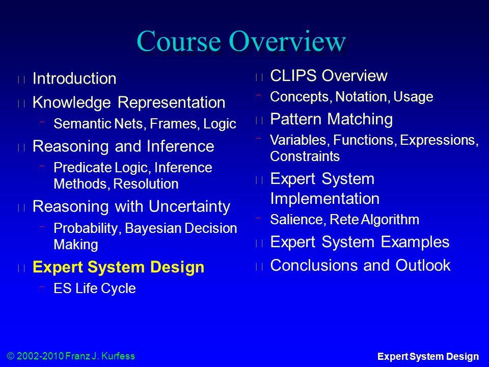 © 2002-2010 Franz J. Kurfess Expert System Design Course Overview ◆ Introduction ◆ Knowledge Representation ◆ Semantic Nets, Frames, Logic ◆ Reasoning