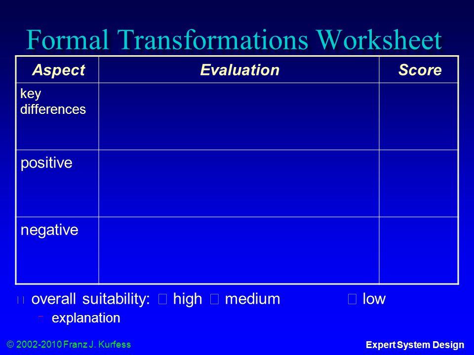 © 2002-2010 Franz J. Kurfess Expert System Design AspectEvaluationScore key differences positive negative Formal Transformations Worksheet ◆ overall s