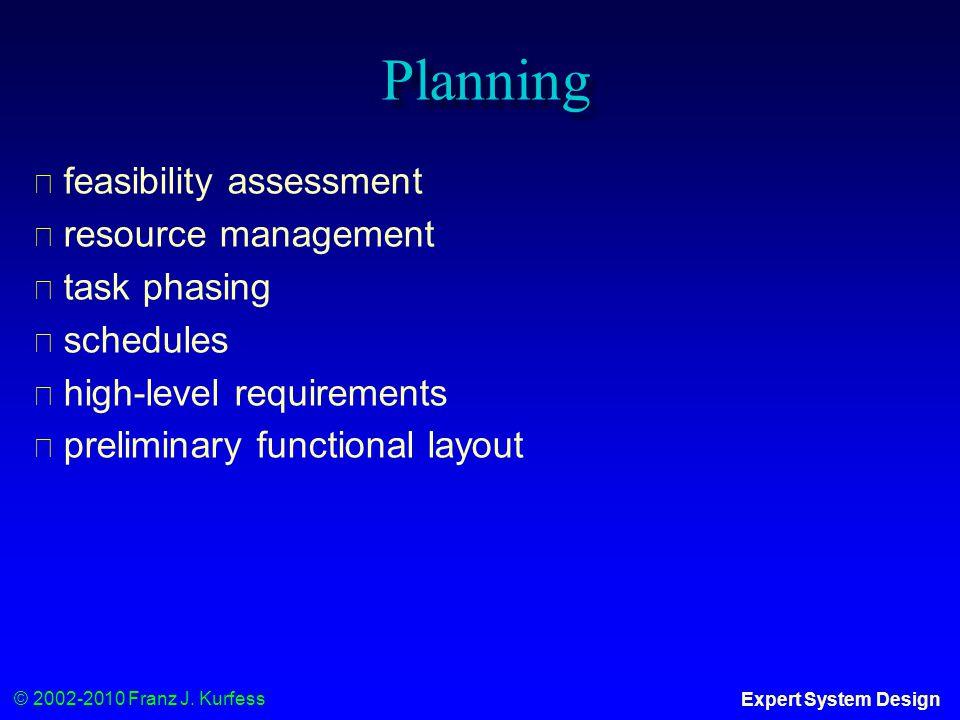 © 2002-2010 Franz J. Kurfess Expert System Design Planning ◆ feasibility assessment ◆ resource management ◆ task phasing ◆ schedules ◆ high-level requ