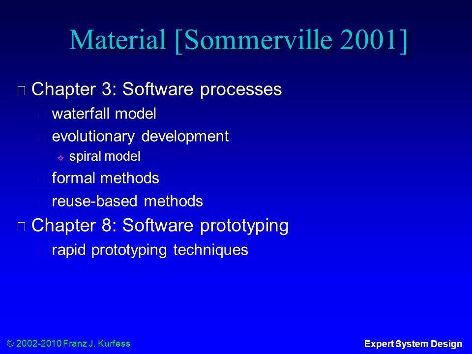 © 2002-2010 Franz J. Kurfess Expert System Design Material [Sommerville 2001] ◆ Chapter 3: Software processes ◆ waterfall model ◆ evolutionary develop