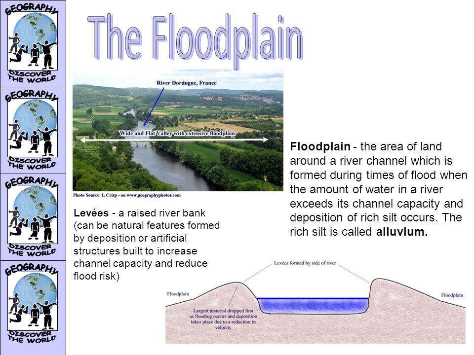 Floodplain - the area of land around a river channel which is formed during times of flood when the amount of water in a river exceeds its channel capacity and deposition of rich silt occurs.